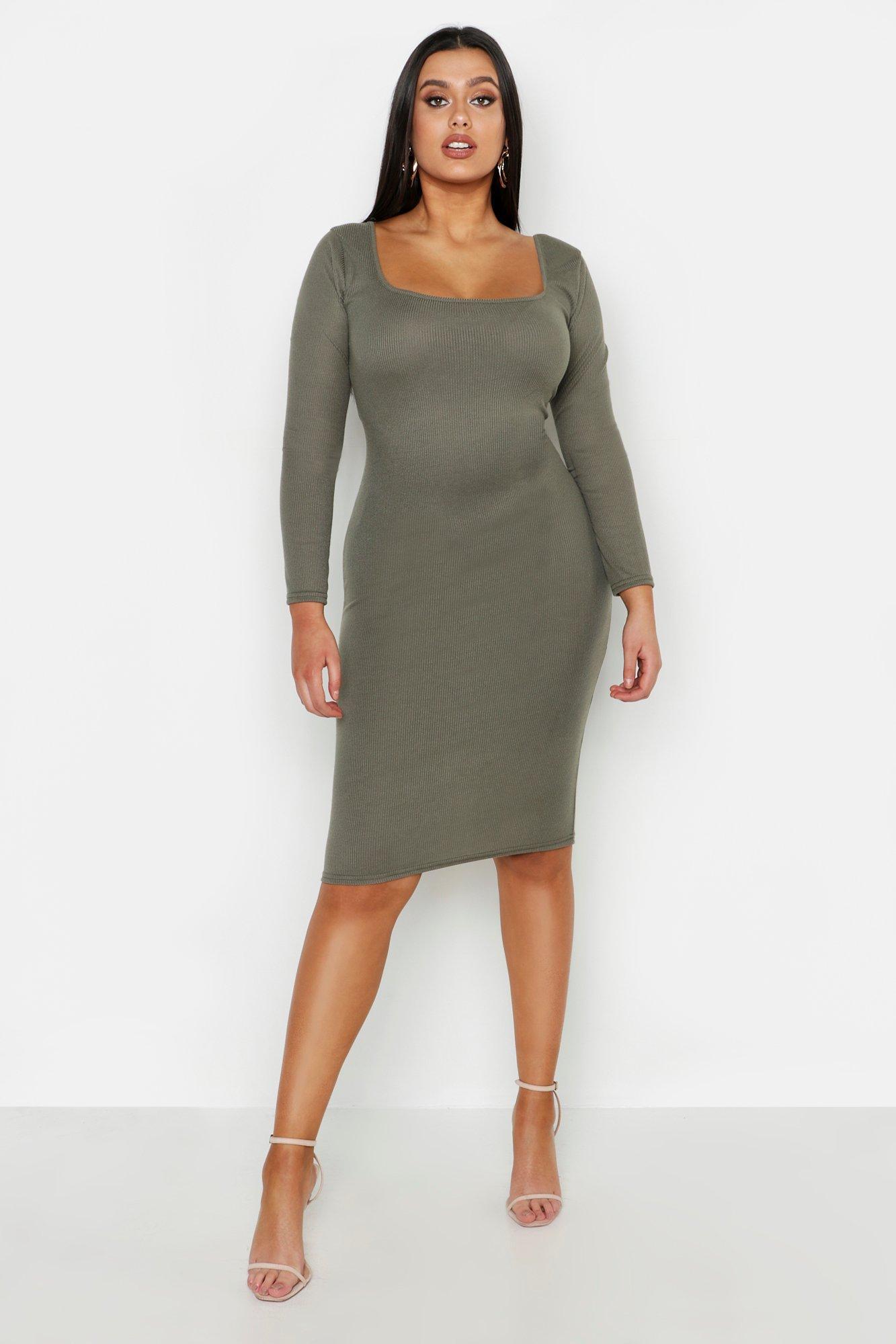 Boohoo | Плюс сайз — миди-платье с длинными рукавами в рубчик | Clouty
