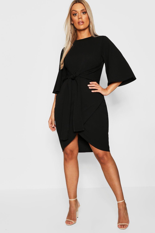 Boohoo | Плюс сайз с рукавами в стиле кимоно с завязками на талии Платье с запахом | Clouty