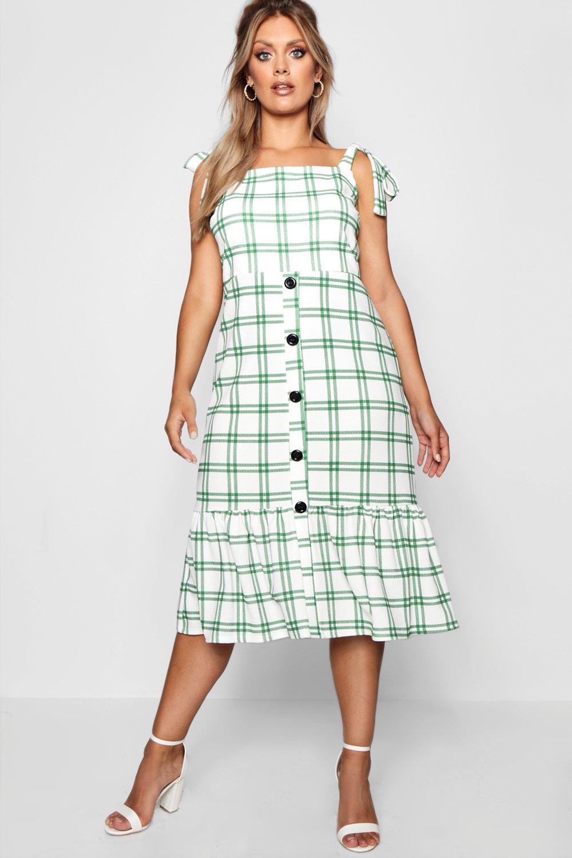 Boohoo | Миди-платье Плюс сайз Jill на пуговицах из ткани в клетку | Clouty
