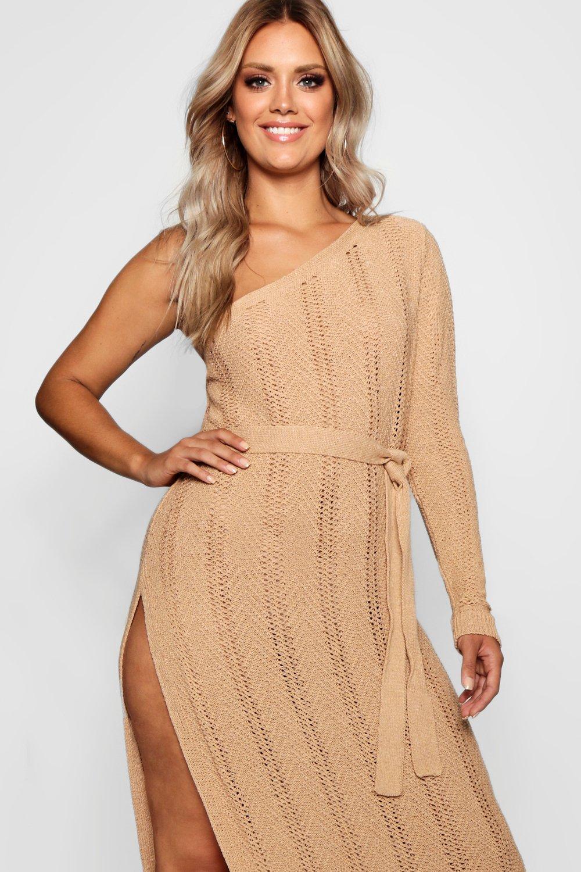 Boohoo | Связанное крючком пляжное платье Плюс сайз с открытым плечом | Clouty