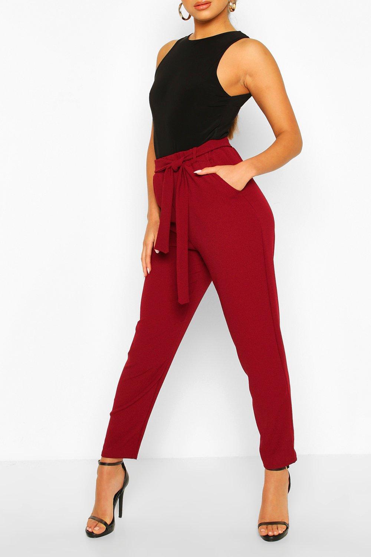 Boohoo | Petite — Зауженные брюки с завязкой на талии | Clouty