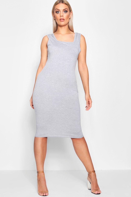 Boohoo | Платье миди из джерси с квадратной горловиной большого размера | Clouty