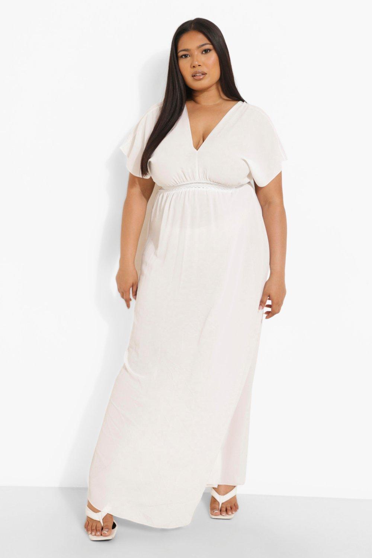 Boohoo | Пляжное макси-платье с глубоким вырезом «Плюс сайз» | Clouty
