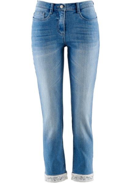 Bonprix | Джинсы стретч 7/8 с вышивкой (голубой) | Clouty