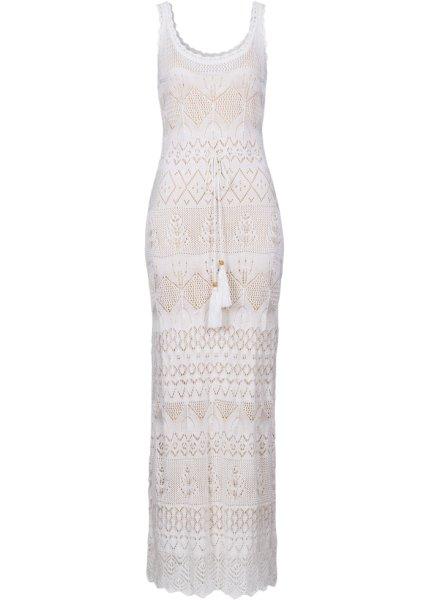 Bonprix | Вязаное платье (цвет белой шерсти/светло-коричневый) | Clouty
