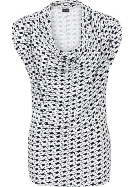 Bonprix | Удлиненная футболка (черный/белый с рисунком) | Clouty