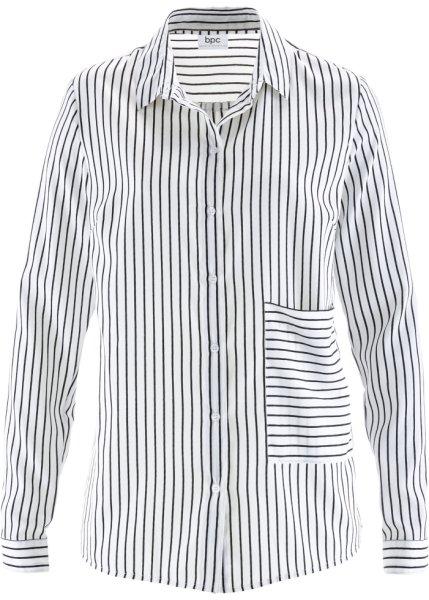 Bonprix   Блузка с длинным рукавом и накладным карманом (черный/белый в полоску)   Clouty