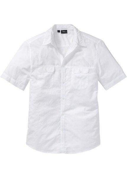 Bonprix | Рубашка Regular Fit с короткими рукавами (белый) | Clouty