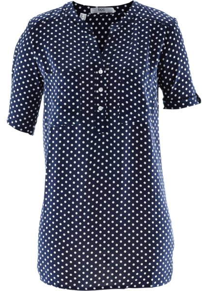 Bonprix   Блузка с коротким рукавом (темно-синий/белый в горошек)   Clouty