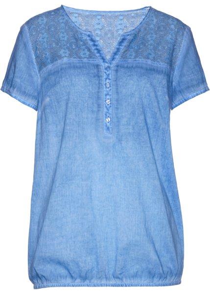 Bonprix | Блузка с кружевной отделкой и коротким рукавом (голубой) | Clouty