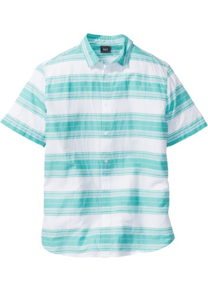 Bonprix | Рубашка Regular Fit в полоску (белый/зеленый в поперечную полоску) | Clouty