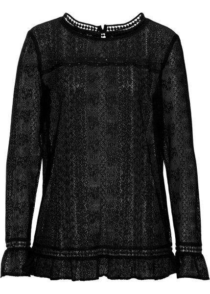 Bonprix | Кружевная блузка (черный) | Clouty