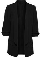 Удлиненный жакет с драпированными рукавами (черный)