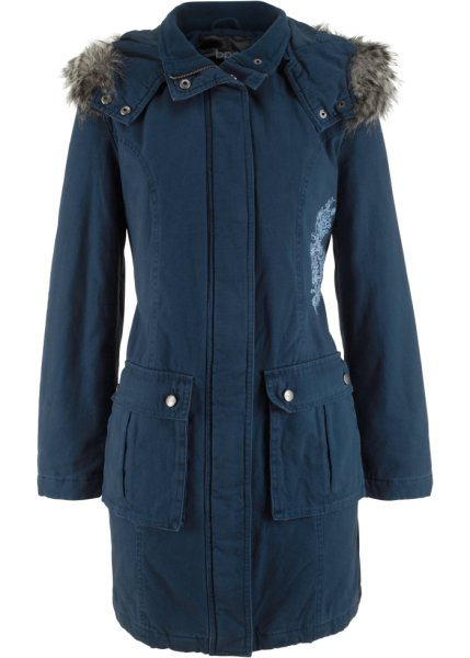 Bonprix | Пальто с вышивкой (темно-синий) | Clouty