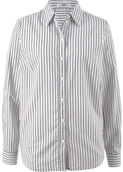 Bonprix | Блуза-рубашка с длинными рукавами (кремовый/шиферно-серый в полоску) | Clouty