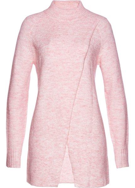 Bonprix   Пуловер удлиненного покроя (нежно-розовый меланж)   Clouty