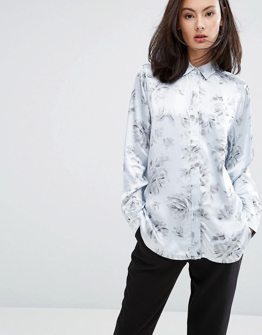 Ganni | Атласная рубашка с цветочным принтом Ganni Gold St. - Белый | Clouty