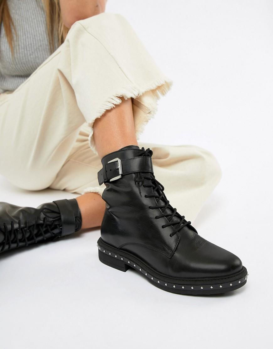 ASOS | Кожаные ботинки на шнуровке ASOS DESIGN Algebra - Черный | Clouty