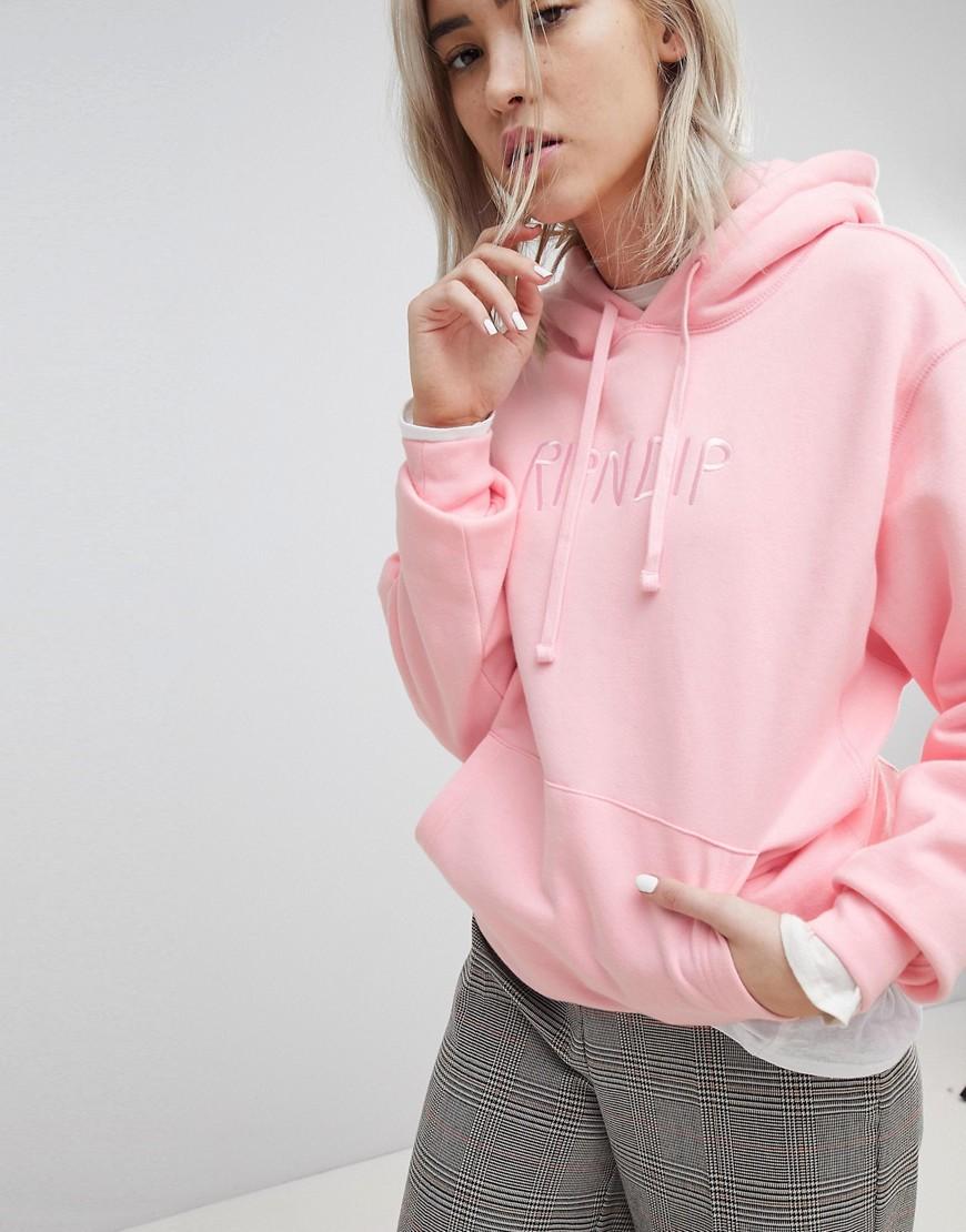 Rip N Dip | Oversize-худи с вышитым логотипом спереди RIPNDIP - Розовый | Clouty
