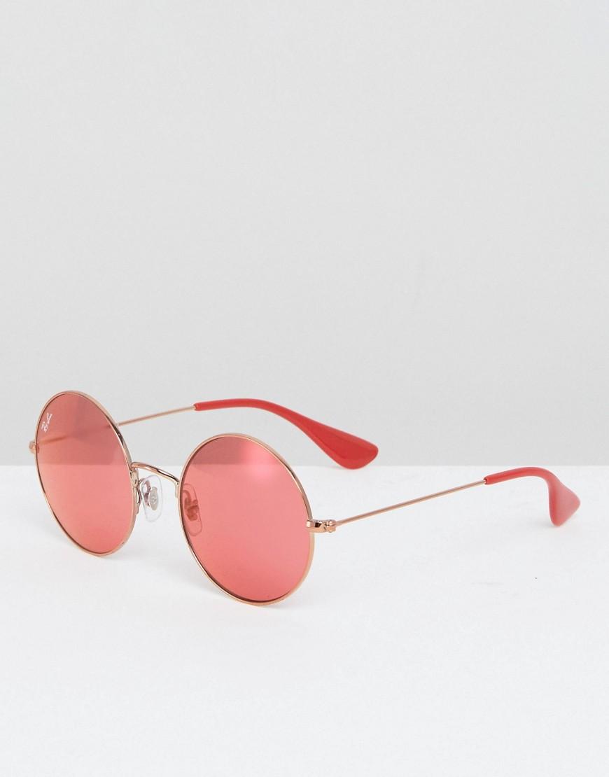 Ray Ban | Круглые солнцезащитные очки с красными стеклами Ray Ban - Красный | Clouty