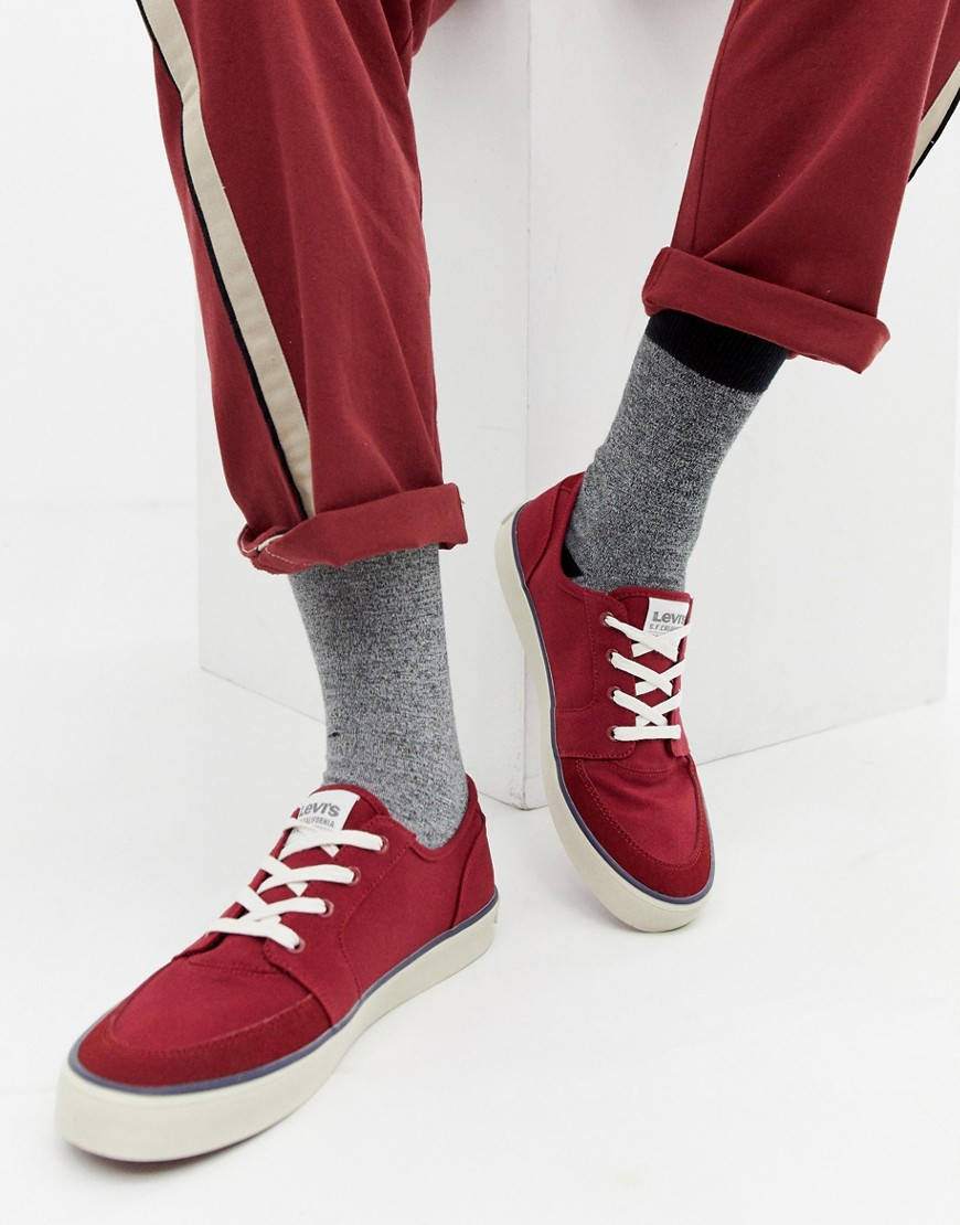 Levi's   Красные парусиновые кроссовки Levi's Stevens - Красный   Clouty