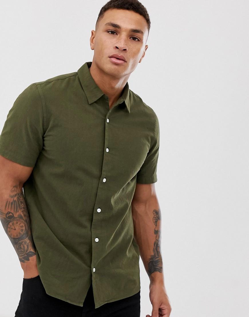 Paul Smith   Повседневная рубашка цвета хаки с короткими рукавами PS Paul Smith - Зеленый   Clouty