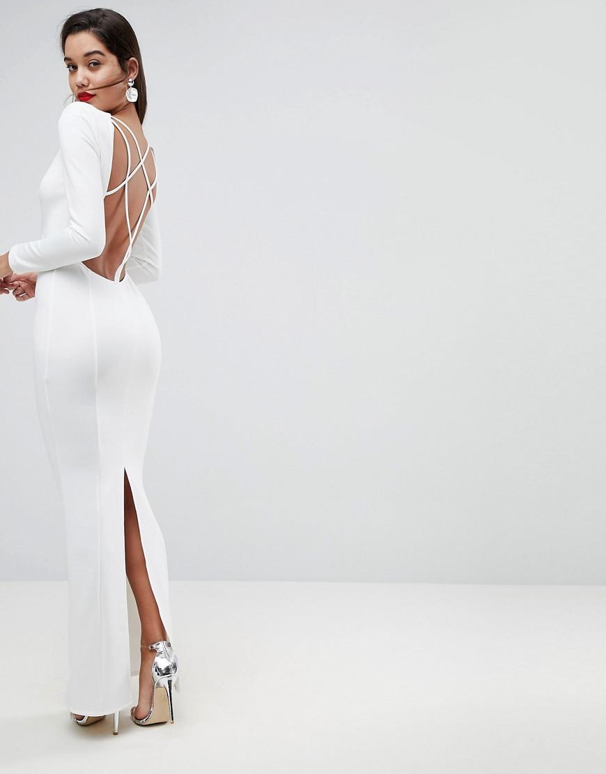 33d31850715aacf ASOS | Платье макси с открытой спиной и длинными рукавами ASOS - Белый |  Clouty ...