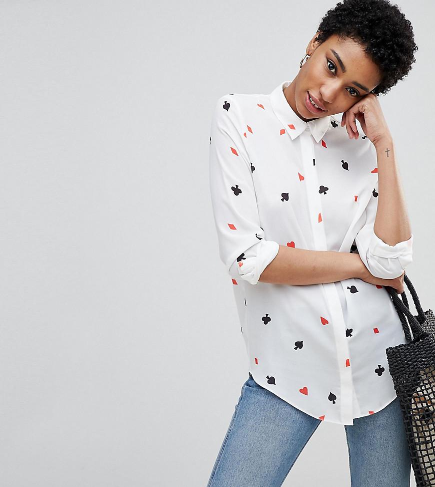 ASOS | Мягкая рубашка с принтом карточных мастей ASOS DESIGN Tall - Мульти | Clouty