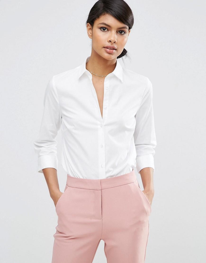 ASOS | Рубашка из эластичного хлопка с рукавами длиной 3/4 ASOS DESIGN - Белый | Clouty