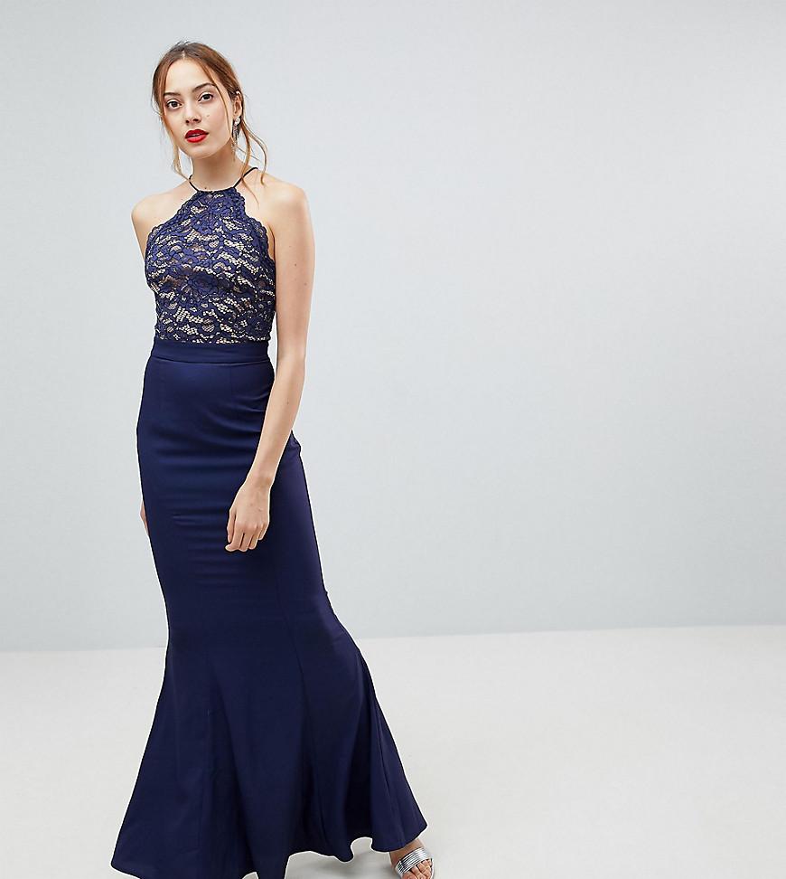 Jarlo | Кружевное платье с высоким воротом и завязкой сзади Jarlo Tall - Темно-синий | Clouty