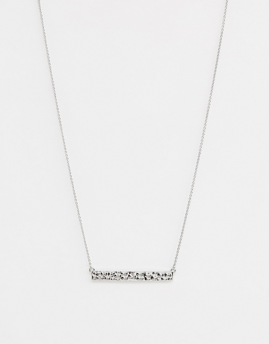 Nylon   Ожерелье с пластиной с кованым эффектом Nylon - Серебряный   Clouty
