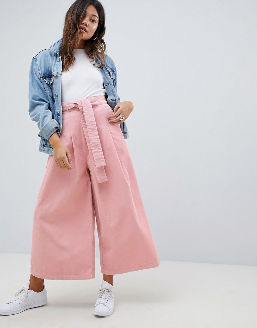 ASOS | Розовые вельветовые брюки с широкими штанинами ASOS DESIGN - Розовый | Clouty