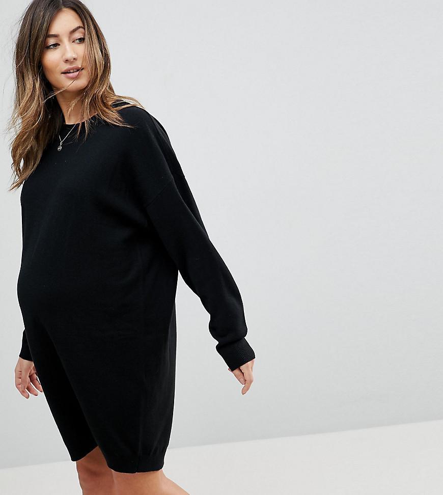 ce30e4cf6c1 Вязаное платье оверсайз с круглым вырезом ASOS MATERNITY - Черный ...