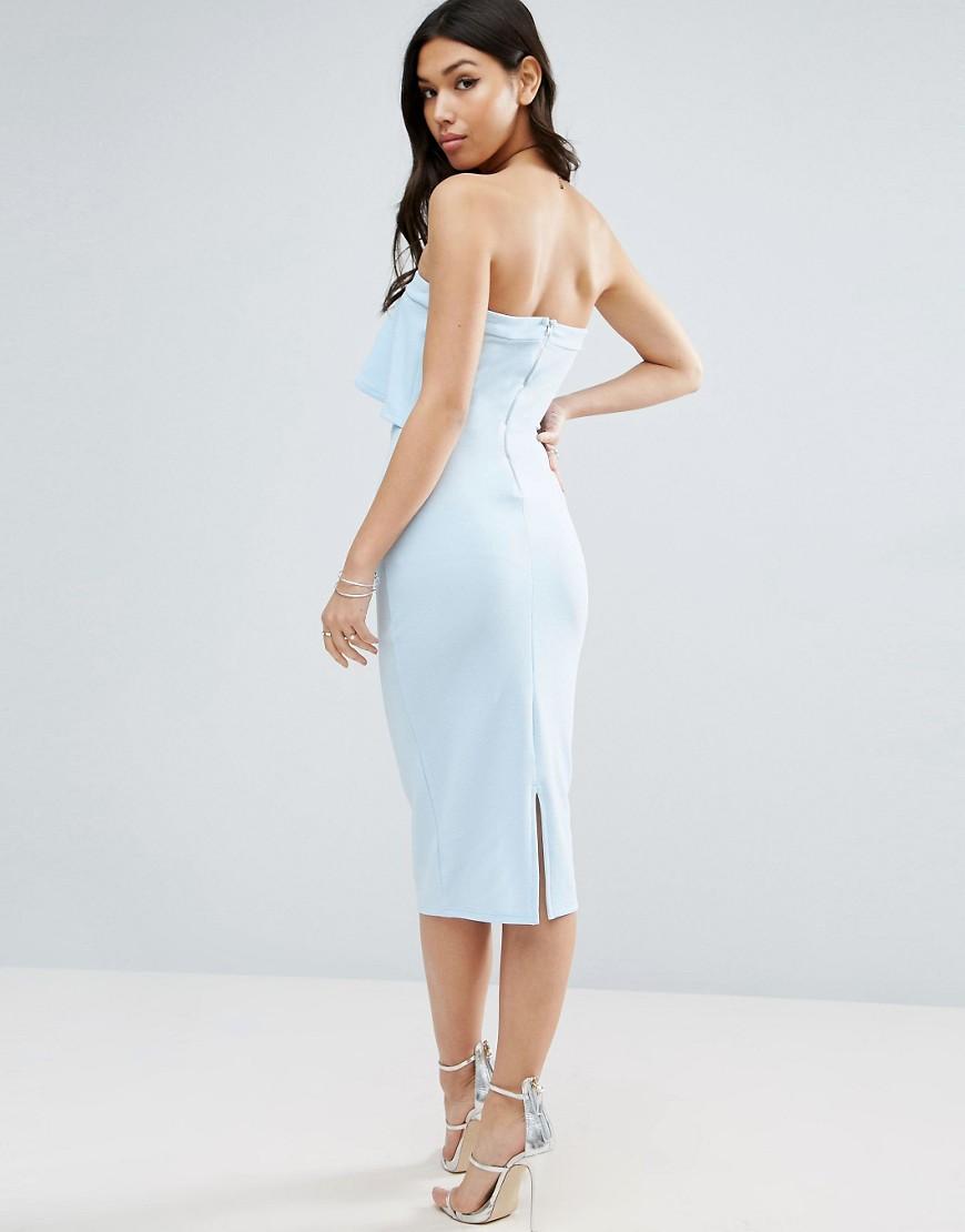 Asos | Фактурное платье-бандо миди с асимметричной оборкой ASOS - Синий | Clouty
