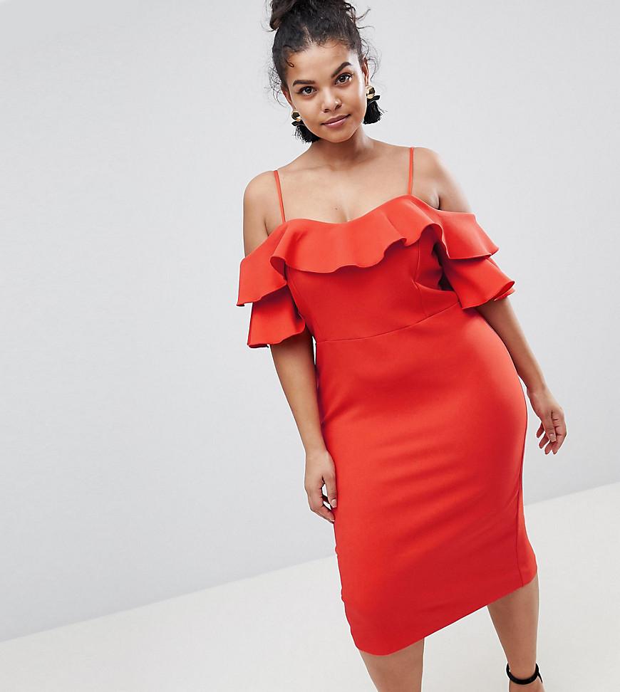 River Island | Облегающее платье с оборкой River Island Plus - Красный | Clouty