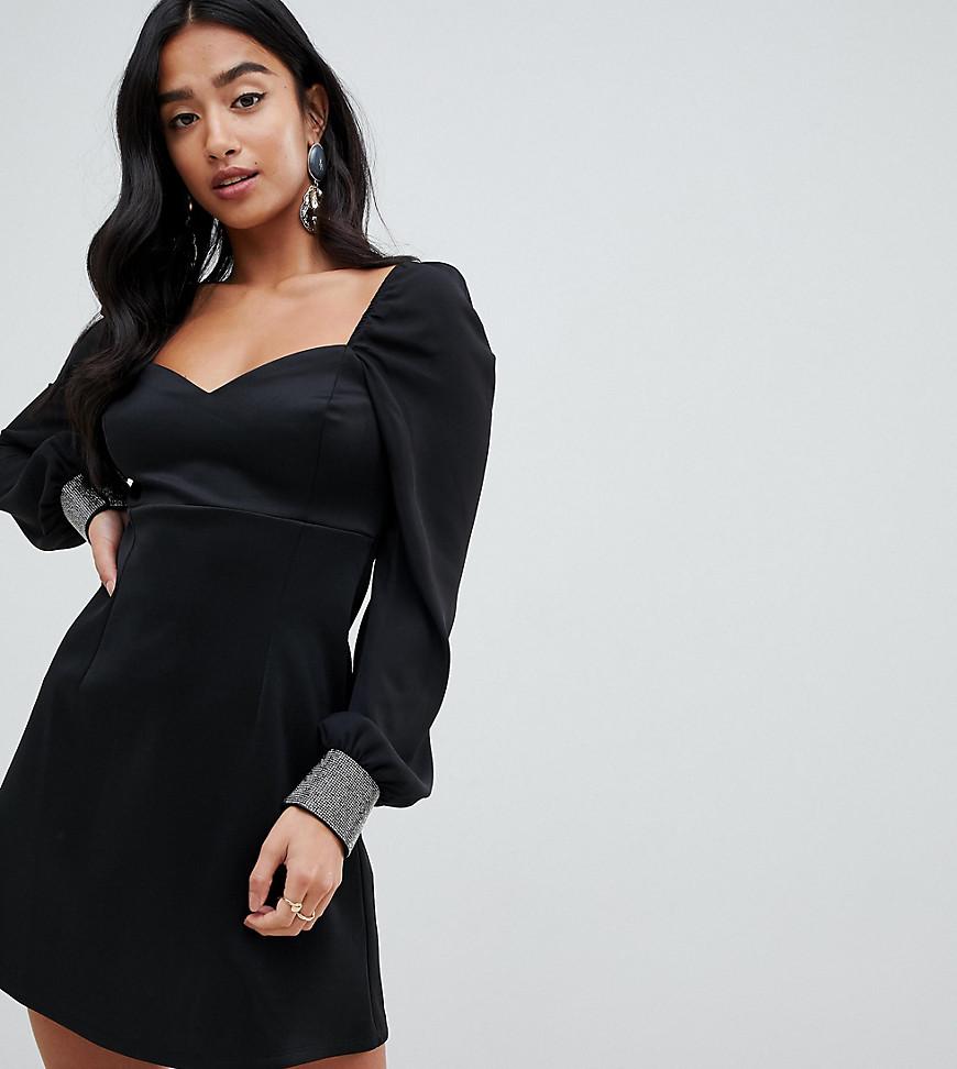 ASOS | Платье мини с вырезом сердечком и отделкой на манжетах ASOS DESIGN Petite - Черный | Clouty