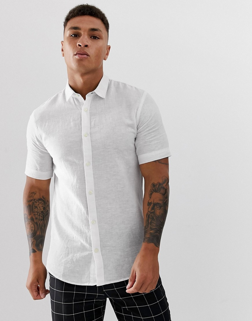 Only & Sons | Белая рубашка с короткими рукавами из ткани с добавлением льна Only & Sons - Белый | Clouty