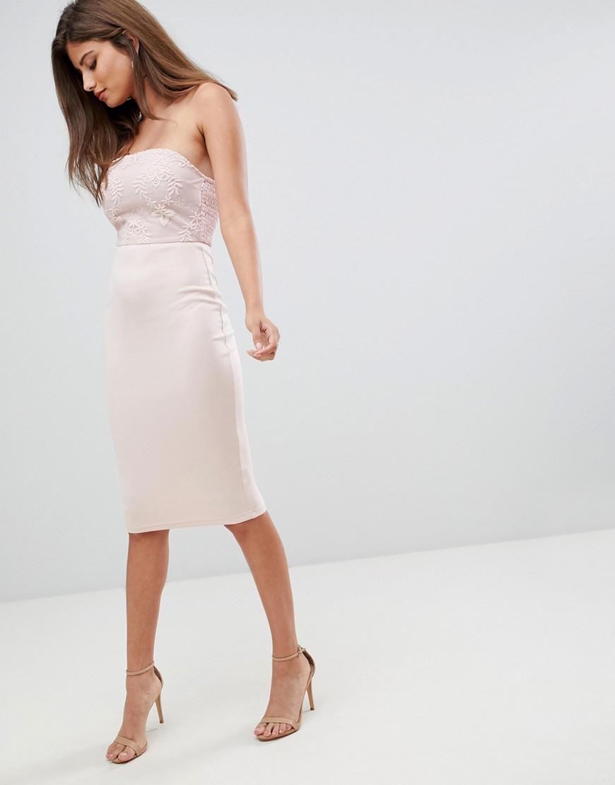 Ax Paris | Облегающее платье миди c кружевом AX Paris - Розовый | Clouty