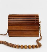 f254bab85aab New Look | Темно-коричневая сумка из деревянных реек New Look - Коричневый  | Clouty