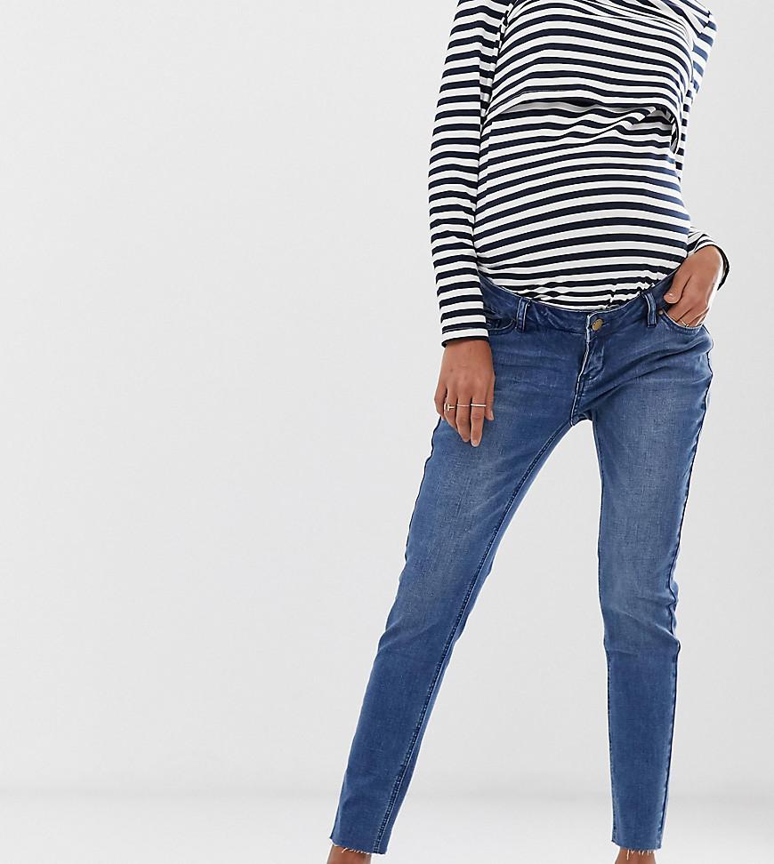 Bandia | Укороченные джинсы скинни со съемной вставкой для животика и необработанными краями Bandia Maternity - Синий | Clouty
