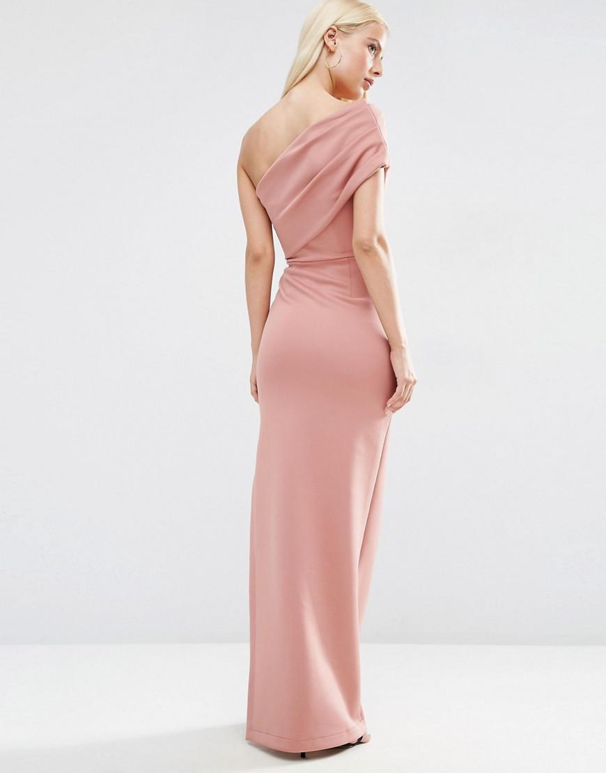 Asos   Розовый Платье макси на одно плечо с открытои молниеи ASOS - Розовыи   Clouty