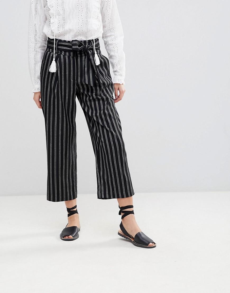 New Look | Укороченные широкие брюки в тонкую полоску New Look - Черный | Clouty
