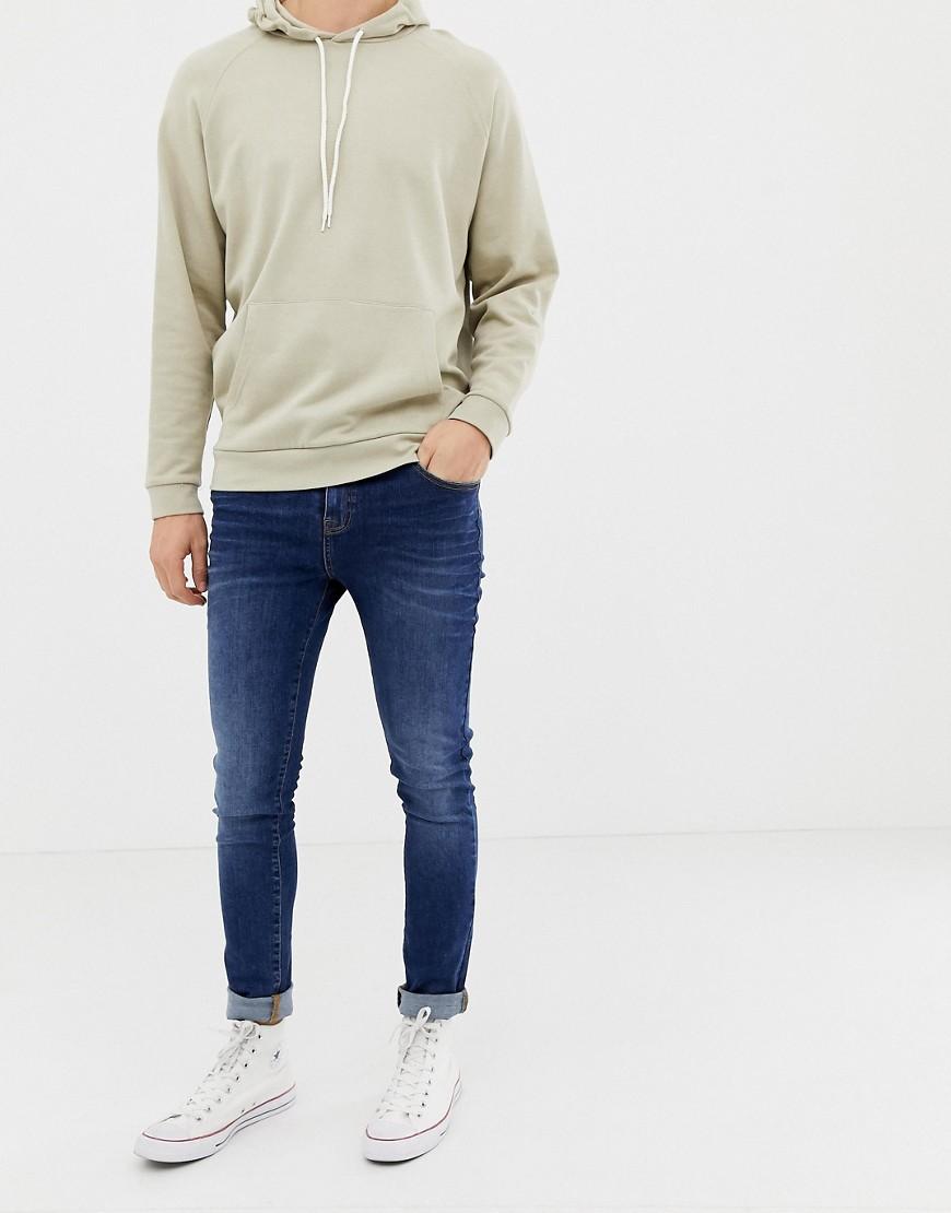LDN DNM | Выбеленные джинсы цвета индиго супероблегающего кроя LDN DNM - Синий | Clouty