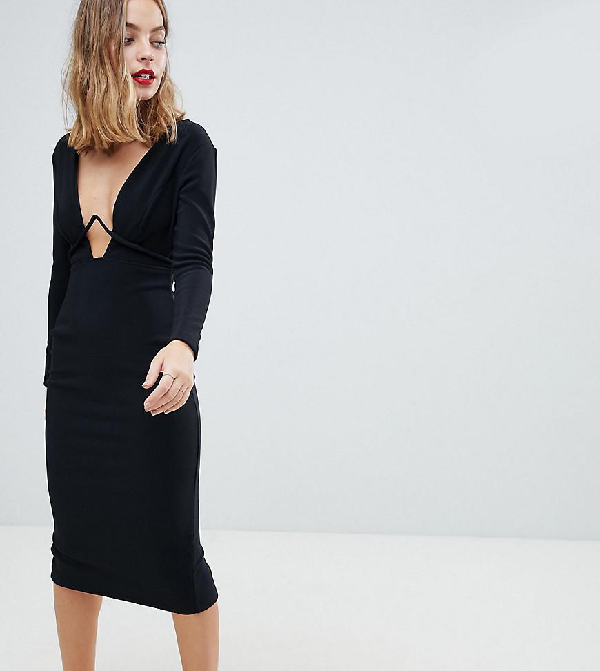 ASOS   Облегающее платье миди с длинными рукавами ASOS DESIGN Petite - Черный   Clouty