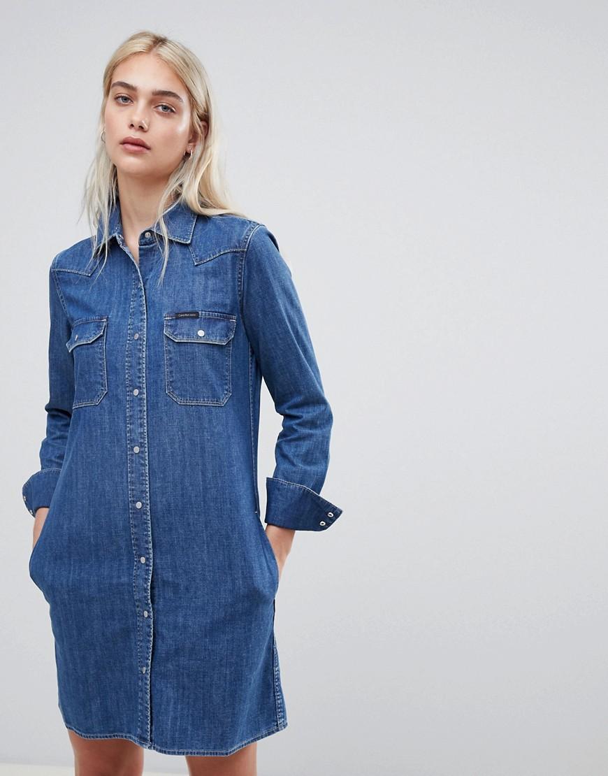 82d6538b9ef Джинсовое платье-рубашка в стиле вестерн Calvin Klein Christiane ...