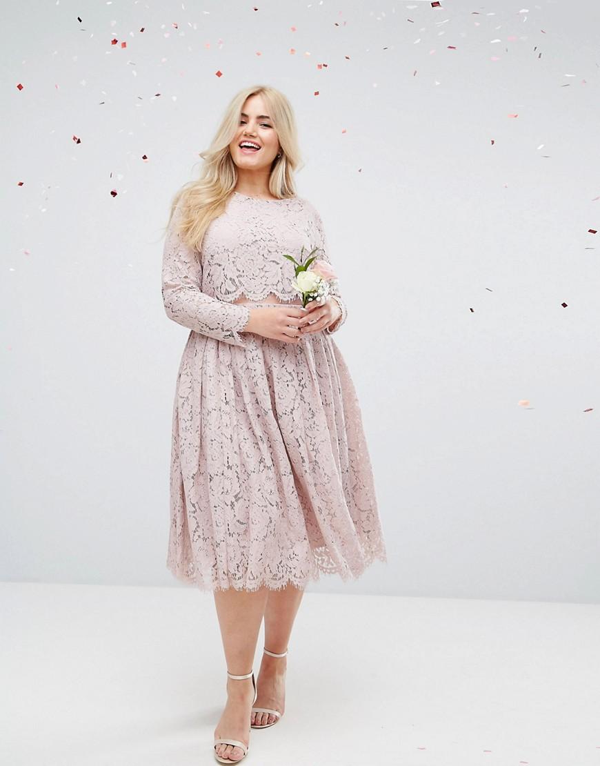 ASOS   Розовый Кружевное платье миди с длинными рукавами ASOS DESIGN Curve Bridesmaid   Clouty
