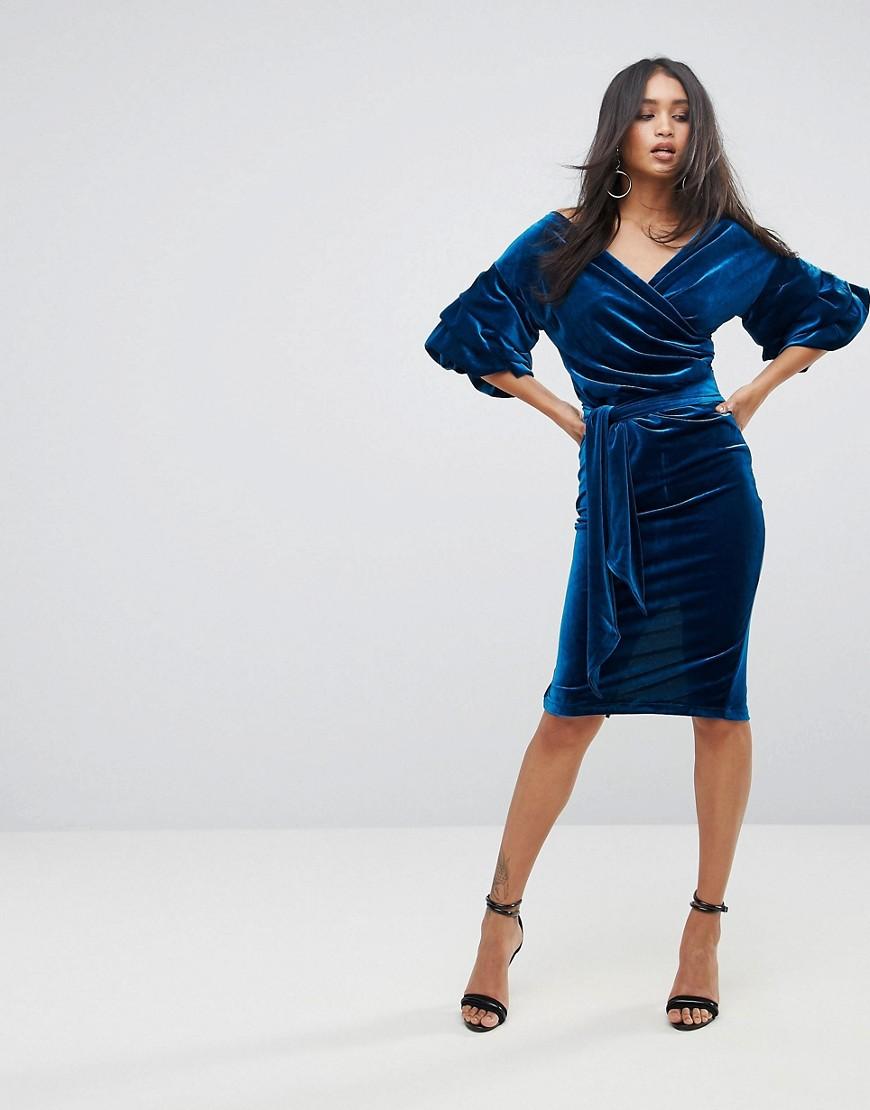 Lioness | Бархатное платье миди с присборенными рукавами Lioness - Синий | Clouty
