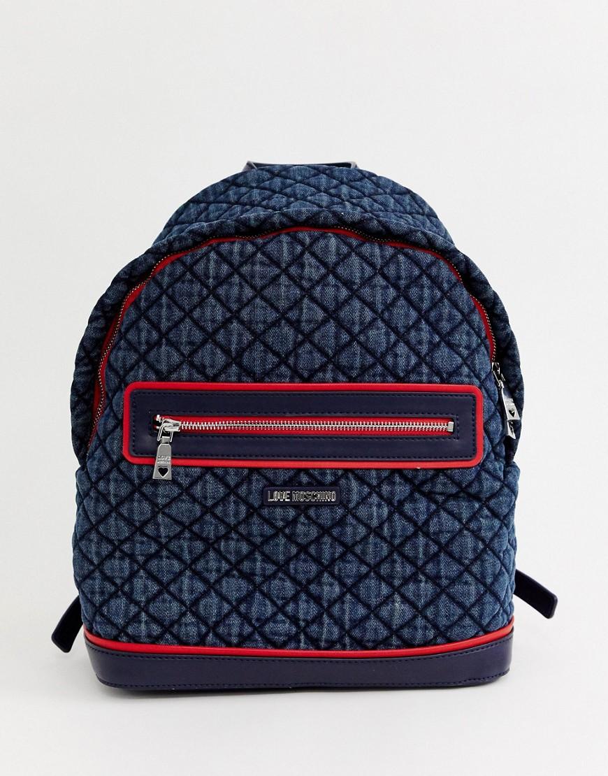 Love Moschino   Стеганый рюкзак Love Moschino - Темно-синий   Clouty