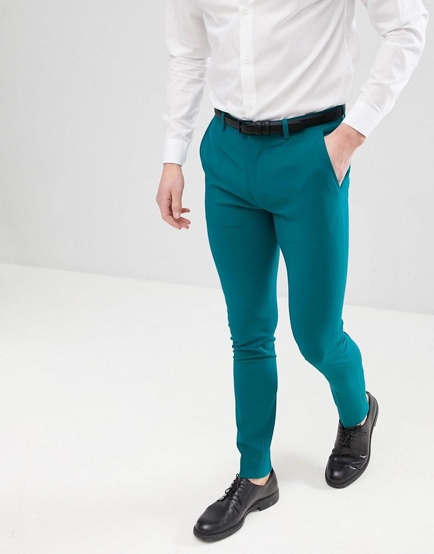 ASOS | Сине-зеленые строгие брюки скинни ASOS DESIGN - Зеленый | Clouty