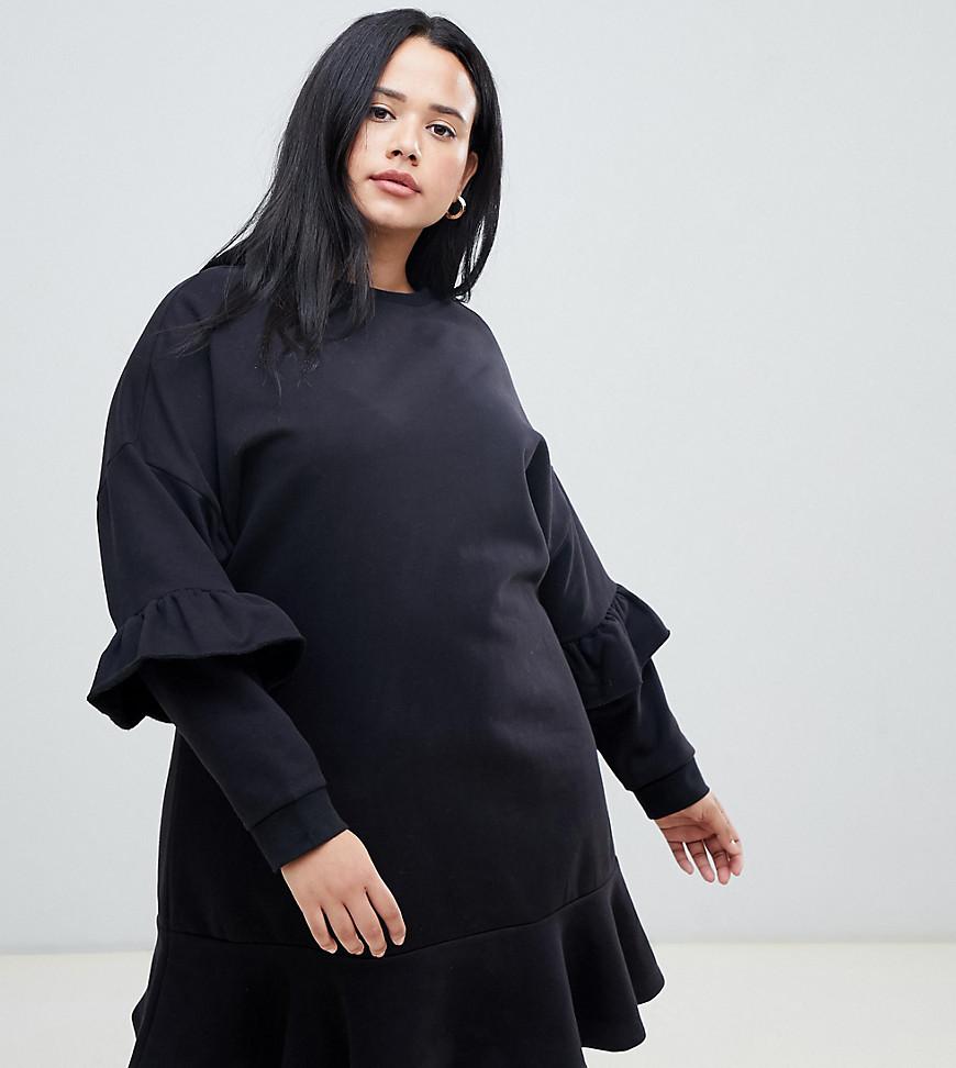 ASOS   Трикотажное платье с оборками ASOS DESIGN Curve - Черный   Clouty
